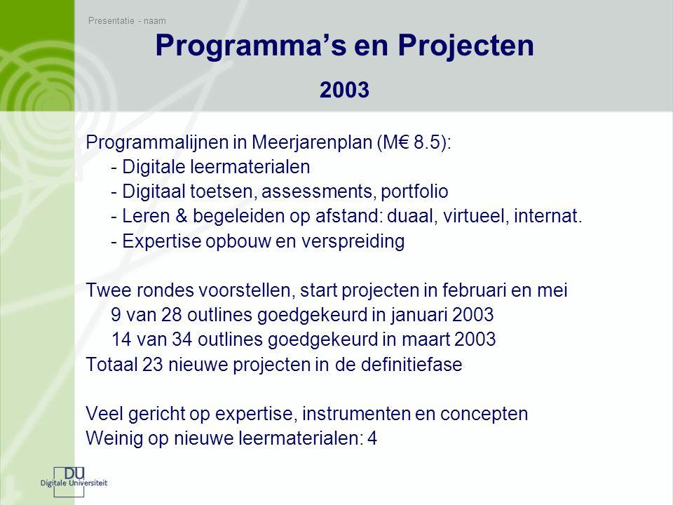 Presentatie - naam Programma's en Projecten 2004 Programmalijnen en nieuwe projectsoorten (k€ 8.000): Domeinprogramma's, schakelprogramma's, kleine projecten (verkennend, risicodragend) 26 projecten (van 60 outlines) starten vanaf januari 2004: 3 opleidingsgerichte programma's (sector, domein) 3 schakelprogramma's 8 projecten gericht op nieuwe leermaterialen opnieuw veel expertise, instrumenten en concepten