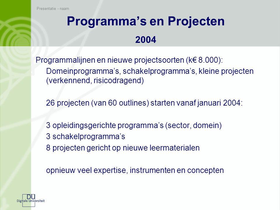 Presentatie - naam Programma's en Projecten 2005 Transformatie van opleidingen als nieuwe focus (k€ 8.500): resultaat van strategiediscussie programma met soorten programma's en projecten: A transformatie: opleidingen centraal B domeinoverstijgend, expertise, kleine projecten C implementatie Proces: ideeënronde: 126 voorstellen, 44 geaccepteerd voor outline en 35 ingediend plus 10 voor het programma bedrijfskunde en economie plus 12 inmiddels al gestart in het programma informatica Advies 30.11Besluit 8.12