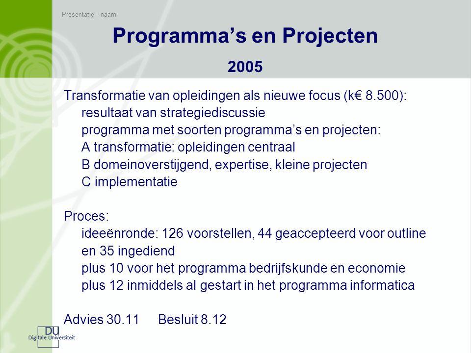 Presentatie - naam Conclusies over ontwikkelingen in de programmering De programmering in hoofdlijnen over de jaren heen: 2001grote projecten zonder structuur en inbedding 2002opportunistisch en ad hoc zonder basis 2003multi-projecten in algemene programmalijnen 2004idem, maar meer diversiteit in projecttypen, eerste domeinprogramma's en meer accent op opleidingen 2005opleidingen als focus, daarnaast projectmogelijkheden voor domeinoverstijgend, expertise, e.a., implementatie 2006??.