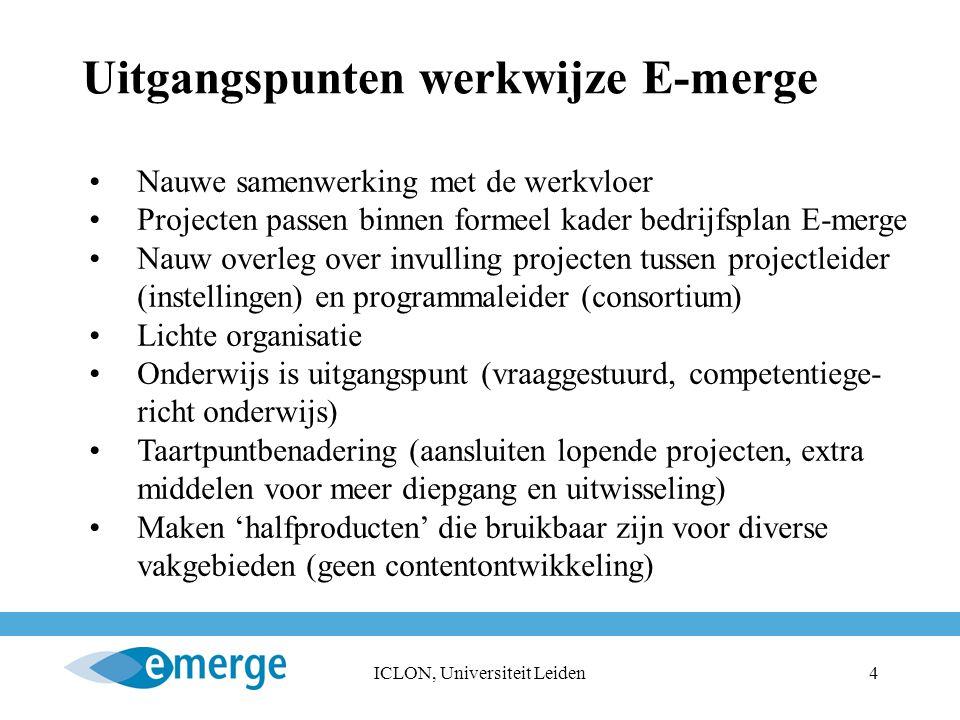 ICLON, Universiteit Leiden4 Uitgangspunten werkwijze E-merge Nauwe samenwerking met de werkvloer Projecten passen binnen formeel kader bedrijfsplan E-merge Nauw overleg over invulling projecten tussen projectleider (instellingen) en programmaleider (consortium) Lichte organisatie Onderwijs is uitgangspunt (vraaggestuurd, competentiege- richt onderwijs) Taartpuntbenadering (aansluiten lopende projecten, extra middelen voor meer diepgang en uitwisseling) Maken 'halfproducten' die bruikbaar zijn voor diverse vakgebieden (geen contentontwikkeling)