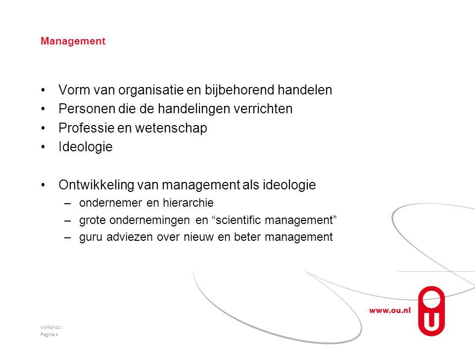 Management Vorm van organisatie en bijbehorend handelen Personen die de handelingen verrichten Professie en wetenschap Ideologie Ontwikkeling van mana