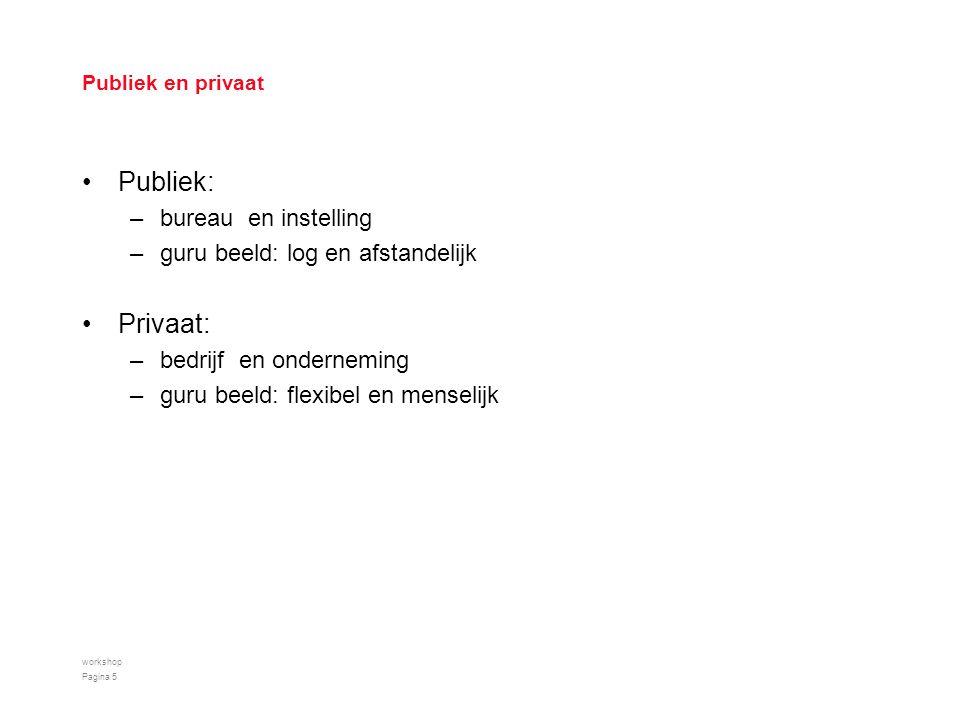 Publiek en privaat Publiek: –bureau en instelling –guru beeld: log en afstandelijk Privaat: –bedrijf en onderneming –guru beeld: flexibel en menselijk workshop Pagina 5