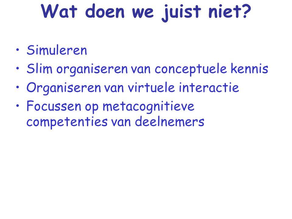 Wat zijn knelpunten Gebrek aan visie Hoge kosten mbt licenties & content Gebrek aan daadkracht van het (midden)management Houdbaarheid en afschrijving van investeringen Competenties medewerkers (ICT en didaktisch