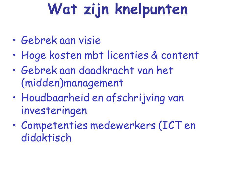 Wat zijn knelpunten Gebrek aan visie Hoge kosten mbt licenties & content Gebrek aan daadkracht van het (midden)management Houdbaarheid en afschrijving