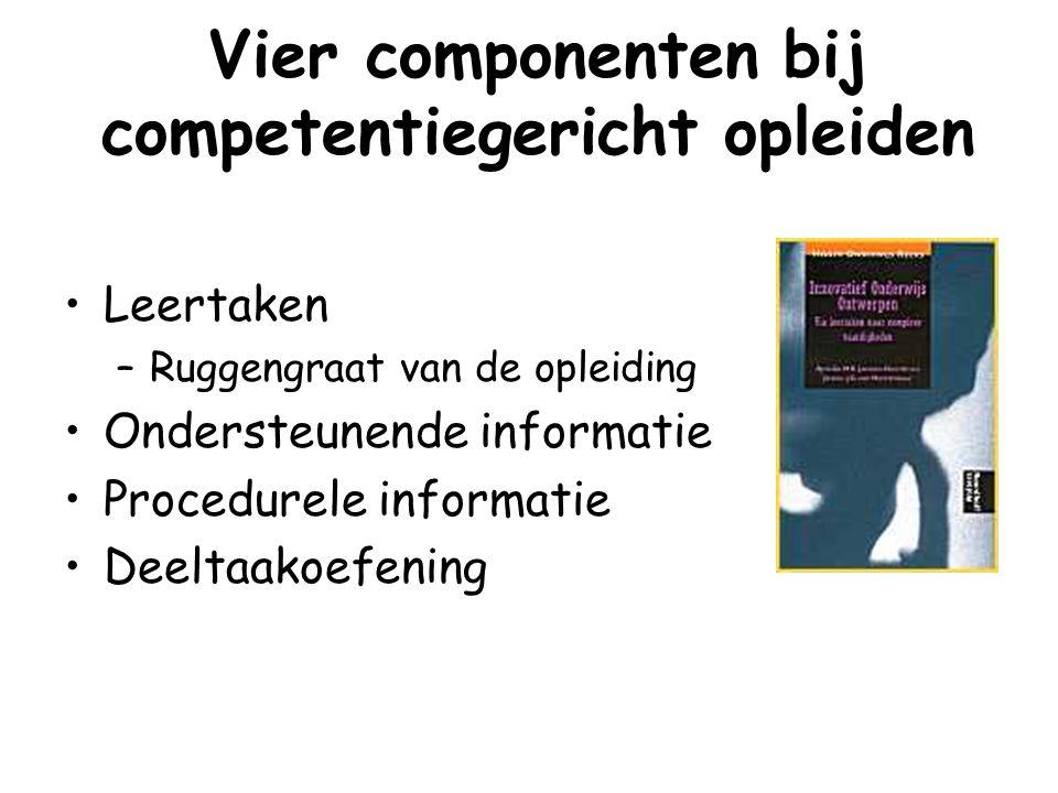 Vier componenten bij competentiegericht opleiden Leertaken –Ruggengraat van de opleiding Ondersteunende informatie Procedurele informatie Deeltaakoefe
