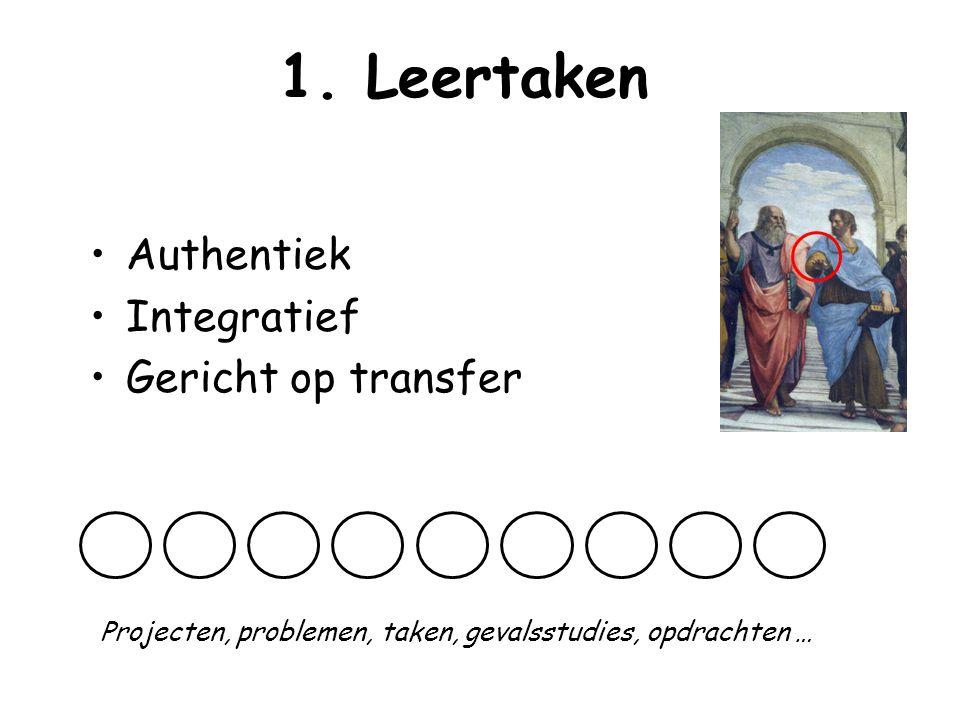 1. Leertaken Authentiek Integratief Gericht op transfer Projecten, problemen, taken, gevalsstudies, opdrachten …