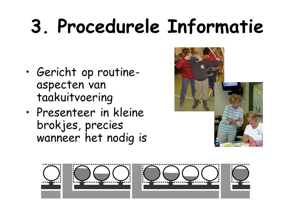 3. Procedurele Informatie Gericht op routine- aspecten van taakuitvoering Presenteer in kleine brokjes, precies wanneer het nodig is