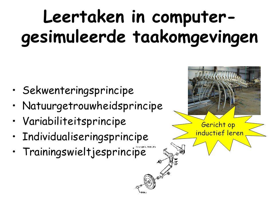 Leertaken in computer- gesimuleerde taakomgevingen Sekwenteringsprincipe Natuurgetrouwheidsprincipe Variabiliteitsprincipe Individualiseringsprincipe