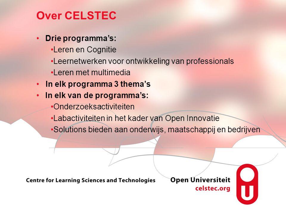Visionen für die Betriebliche Weiterbildung page 4 Drie programma's: Leren en Cognitie Leernetwerken voor ontwikkeling van professionals Leren met mul