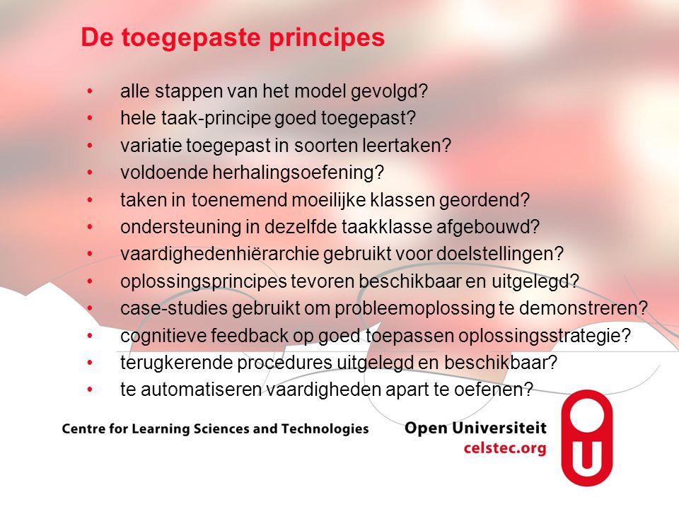 Visionen für die Betriebliche Weiterbildung page 7 alle stappen van het model gevolgd? hele taak-principe goed toegepast? variatie toegepast in soorte