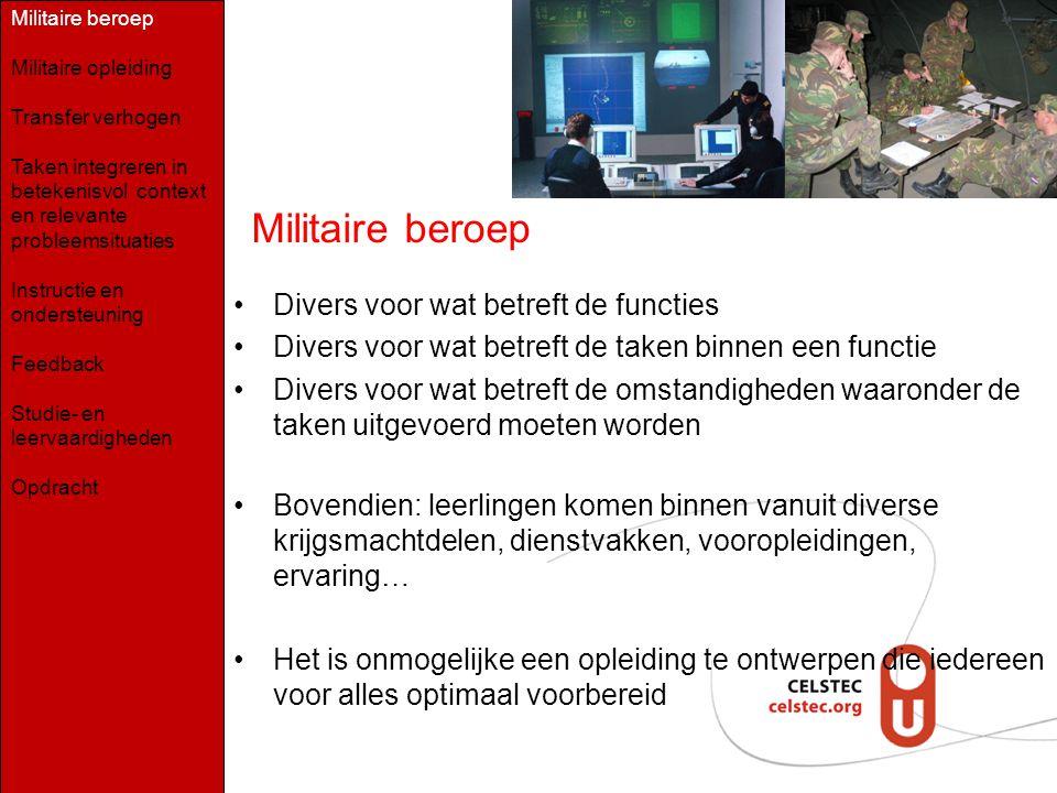 Militaire beroep Divers voor wat betreft de functies Divers voor wat betreft de taken binnen een functie Divers voor wat betreft de omstandigheden waa