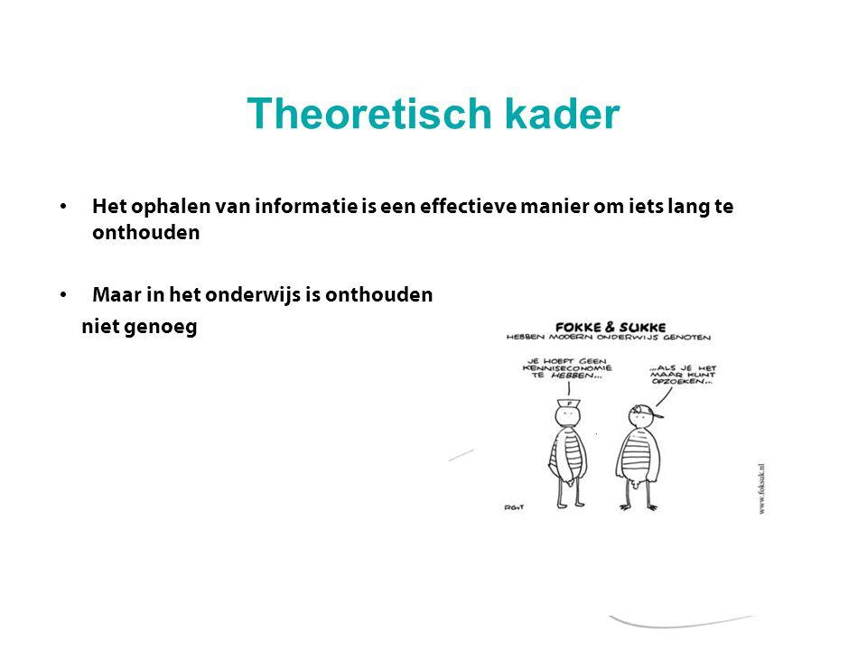 Theoretisch kader Er zijn veel nieuwe toetsvormen in gebruik Daarbij is het leggen van verbanden door de leerlingen belangrijk (bijv.