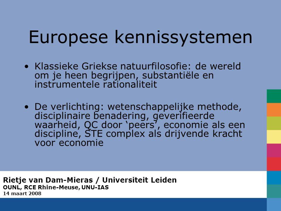 Rietje van Dam-Mieras / Universiteit Leiden OUNL, RCE Rhine-Meuse, UNU-IAS 14 maart 2008 Europese kennissystemen Klassieke Griekse natuurfilosofie: de