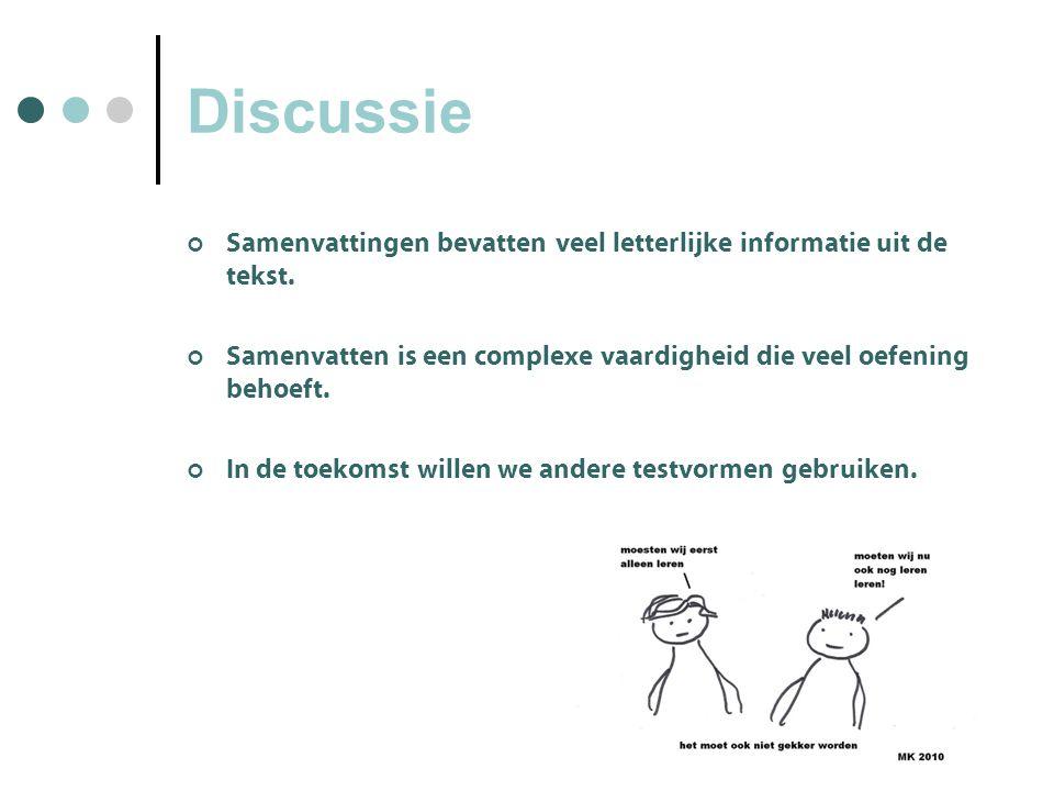 Discussie Samenvattingen bevatten veel letterlijke informatie uit de tekst.