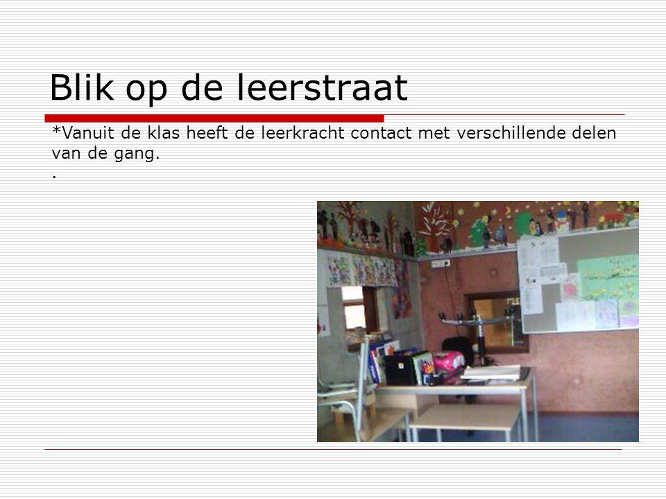 Blik op de leerstraat *Vanuit de klas heeft de leerkracht contact met verschillende delen van de gang..