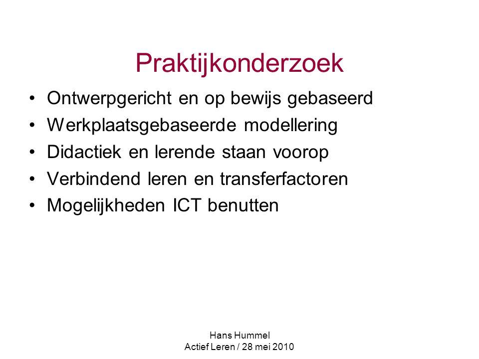 Praktijkonderzoek Ontwerpgericht en op bewijs gebaseerd Werkplaatsgebaseerde modellering Didactiek en lerende staan voorop Verbindend leren en transferfactoren Mogelijkheden ICT benutten