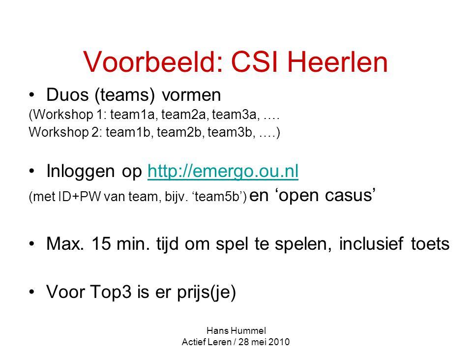 Hans Hummel Actief Leren / 28 mei 2010 Voorbeeld: CSI Heerlen Duos (teams) vormen (Workshop 1: team1a, team2a, team3a, ….