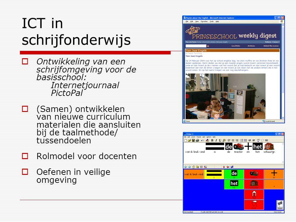 ICT in schrijfonderwijs  Ontwikkeling van een schrijfomgeving voor de basisschool: Internetjournaal PictoPal  (Samen) ontwikkelen van nieuwe curriculum materialen die aansluiten bij de taalmethode/ tussendoelen  Rolmodel voor docenten  Oefenen in veilige omgeving