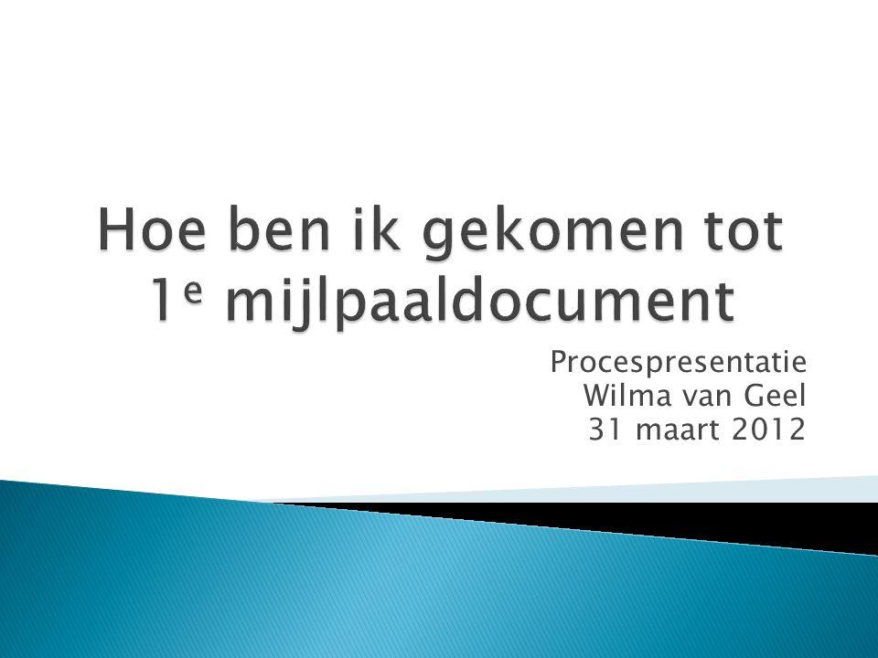 Procespresentatie Wilma van Geel 31 maart 2012