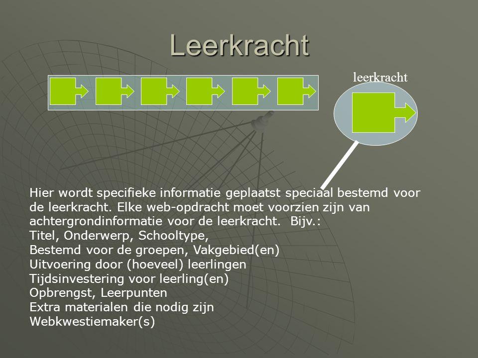 Leerkracht Hier wordt specifieke informatie geplaatst speciaal bestemd voor de leerkracht.