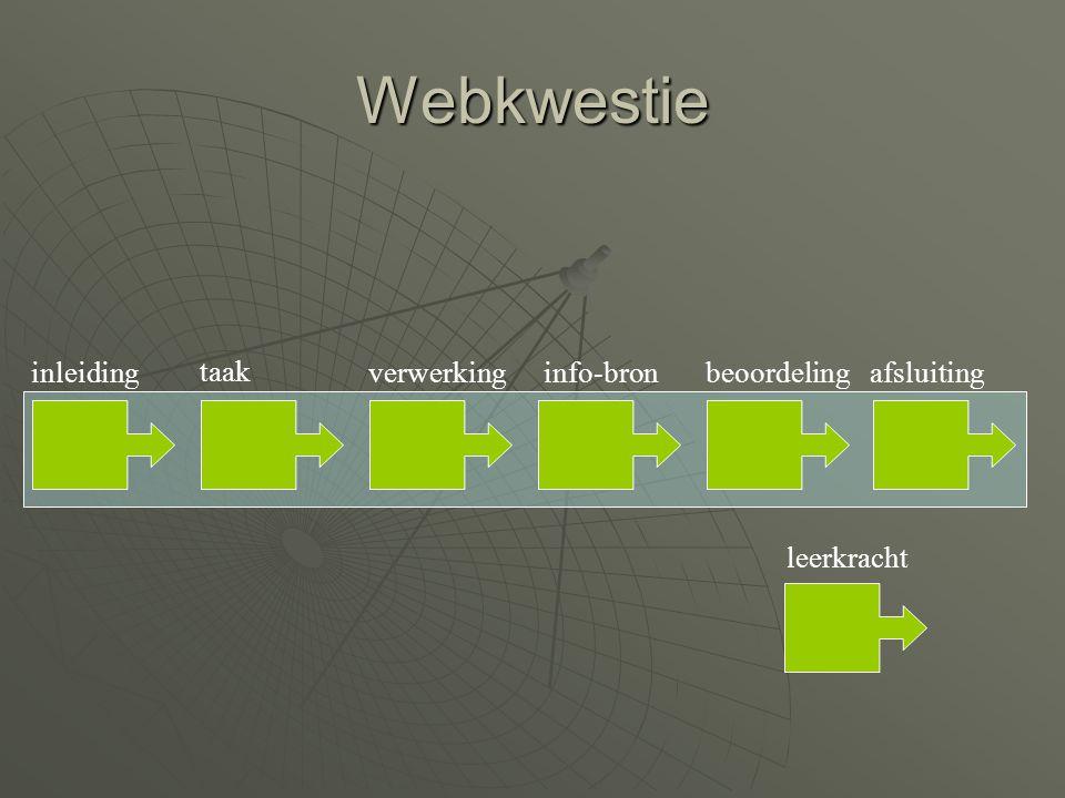 Webkwestie inleiding taak verwerking info-bron beoordeling afsluiting leerkracht