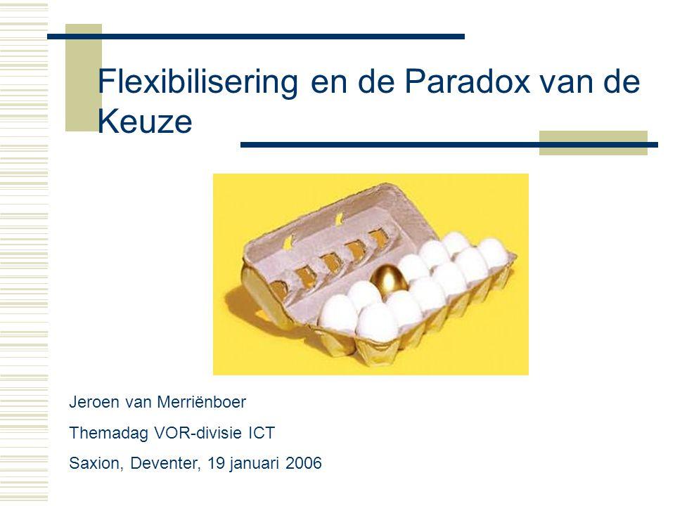 Inhoud  Autonoom en vraaggestuurd leren in 4C/ID  Centrale rol van assessment  De paradox van de keuze  Voorbeeld ontwikkelingsportfolio  Vragen en discussie