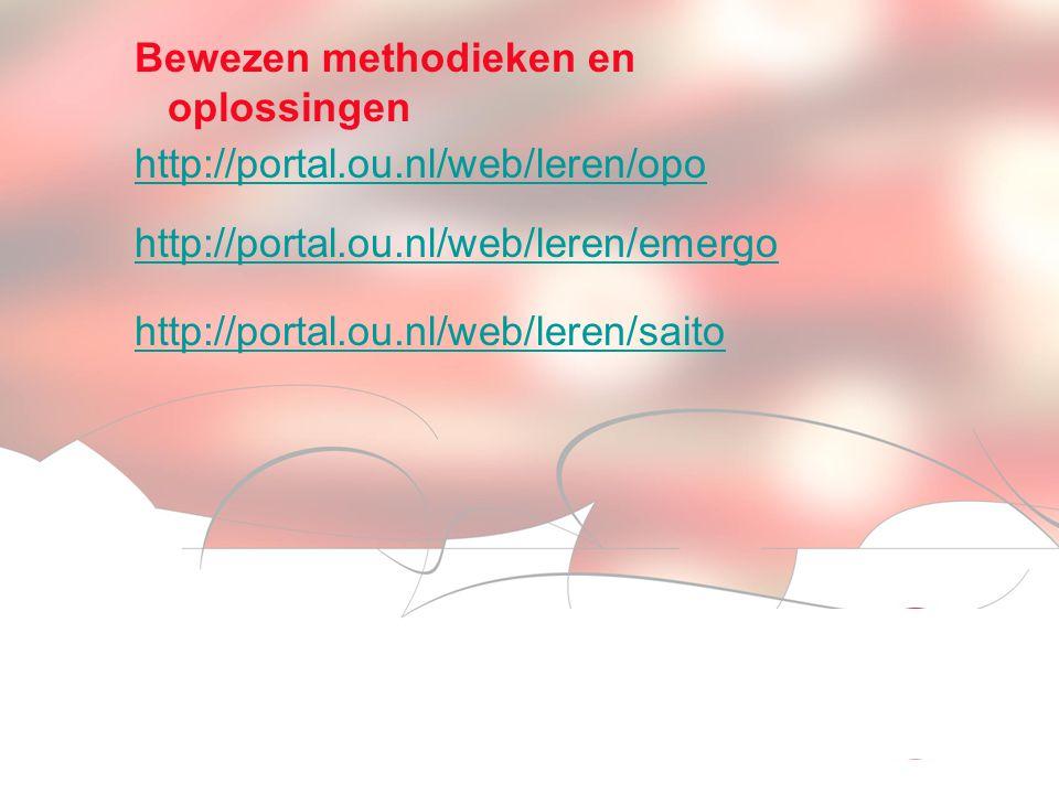 Visionen für die Betriebliche Weiterbildung page 11 Bewezen methodieken en oplossingen http://portal.ou.nl/web/leren/opo http://portal.ou.nl/web/leren/emergo http://portal.ou.nl/web/leren/saito
