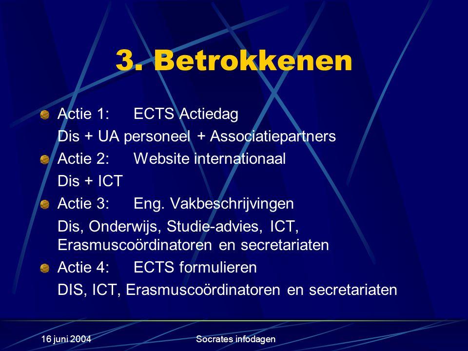 16 juni 2004Socrates infodagen 3. Betrokkenen Actie 1: ECTS Actiedag Dis + UA personeel + Associatiepartners Actie 2: Website internationaal Dis + ICT