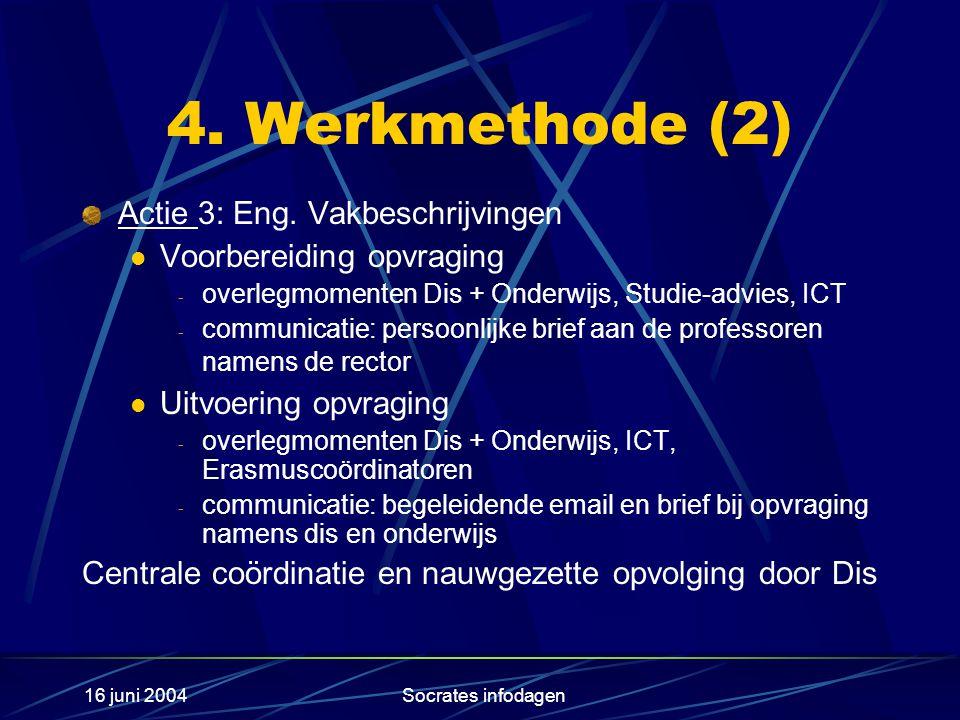 16 juni 2004Socrates infodagen 4. Werkmethode (2) Actie 3: Eng.