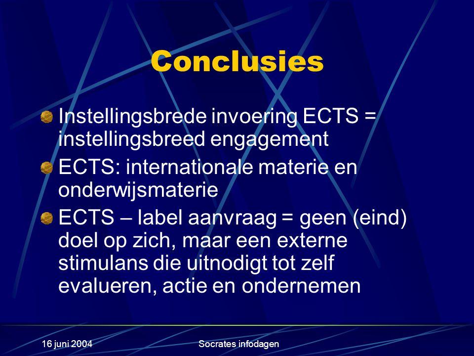 16 juni 2004Socrates infodagen Conclusies Instellingsbrede invoering ECTS = instellingsbreed engagement ECTS: internationale materie en onderwijsmater