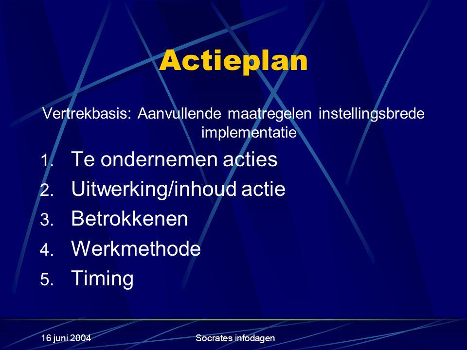 16 juni 2004Socrates infodagen Actieplan Vertrekbasis: Aanvullende maatregelen instellingsbrede implementatie 1.