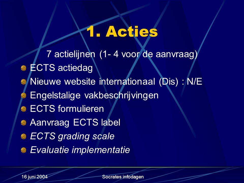 16 juni 2004Socrates infodagen 1. Acties 7 actielijnen (1- 4 voor de aanvraag) ECTS actiedag Nieuwe website internationaal (Dis) : N/E Engelstalige va