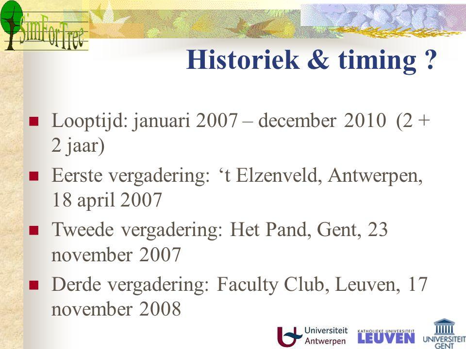 Looptijd: januari 2007 – december 2010 (2 + 2 jaar) Eerste vergadering: 't Elzenveld, Antwerpen, 18 april 2007 Tweede vergadering: Het Pand, Gent, 23 november 2007 Derde vergadering: Faculty Club, Leuven, 17 november 2008 Historiek & timing