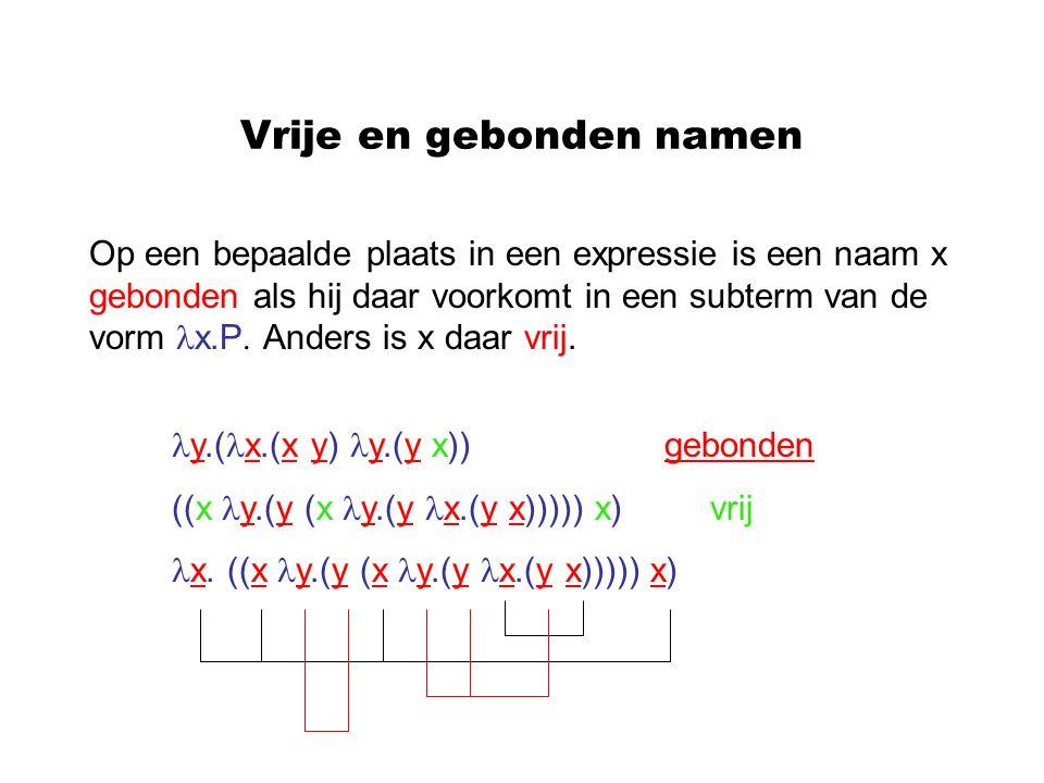 Vrije en gebonden namen Op een bepaalde plaats in een expressie is een naam x gebonden als hij daar voorkomt in een subterm van de vorm x.P. Anders is