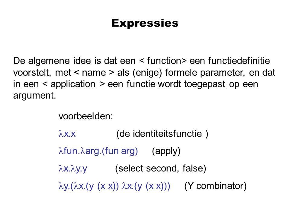 Expressies De algemene idee is dat een een functiedefinitie voorstelt, met als (enige) formele parameter, en dat in een een functie wordt toegepast op een argument.