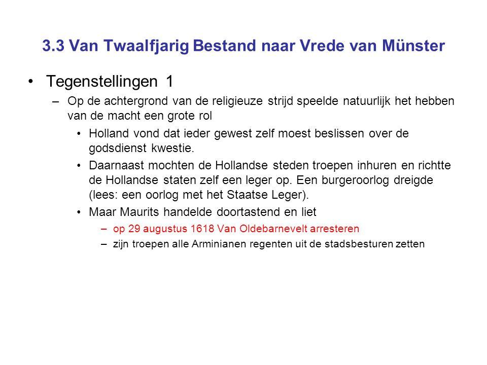 3.3 Van Twaalfjarig Bestand naar Vrede van Münster Tegenstellingen 1 –Op de achtergrond van de religieuze strijd speelde natuurlijk het hebben van de macht een grote rol Holland vond dat ieder gewest zelf moest beslissen over de godsdienst kwestie.