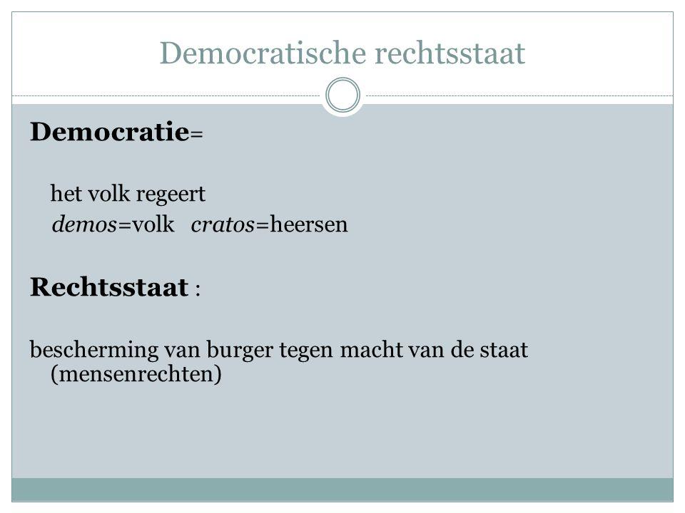 Democratische rechtsstaat Democratie = het volk regeert demos=volk cratos=heersen Rechtsstaat : bescherming van burger tegen macht van de staat (mense