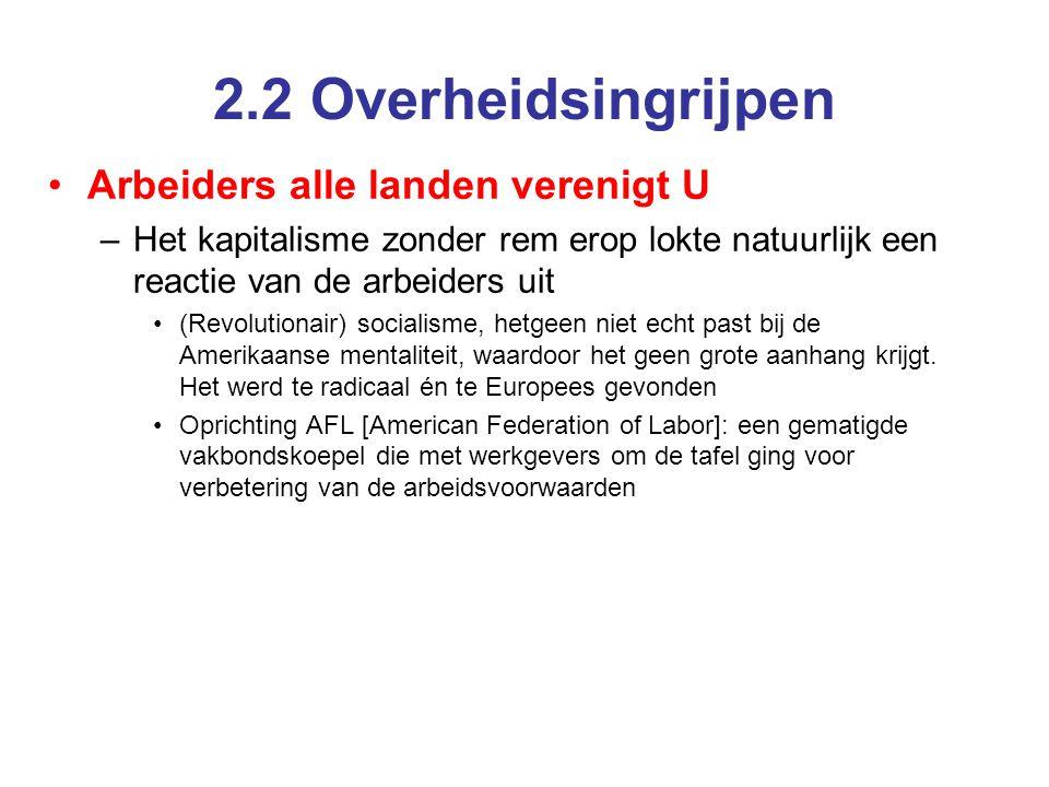 2.2 Overheidsingrijpen Arbeiders alle landen verenigt U –Het kapitalisme zonder rem erop lokte natuurlijk een reactie van de arbeiders uit (Revolution