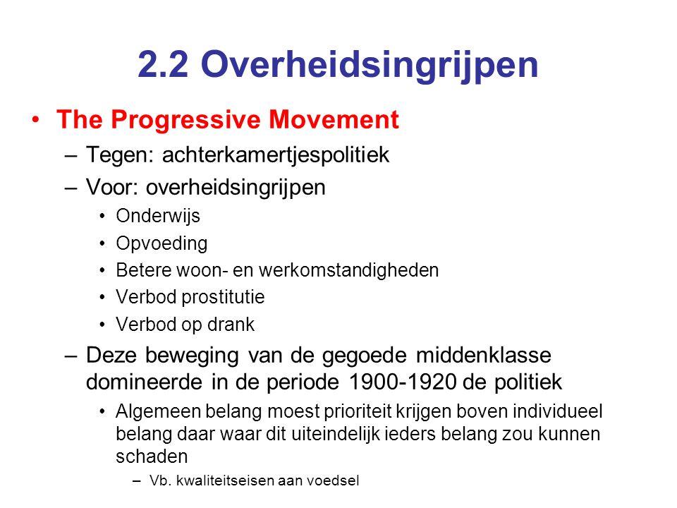 2.2 Overheidsingrijpen The Progressive Movement –Tegen: achterkamertjespolitiek –Voor: overheidsingrijpen Onderwijs Opvoeding Betere woon- en werkomst