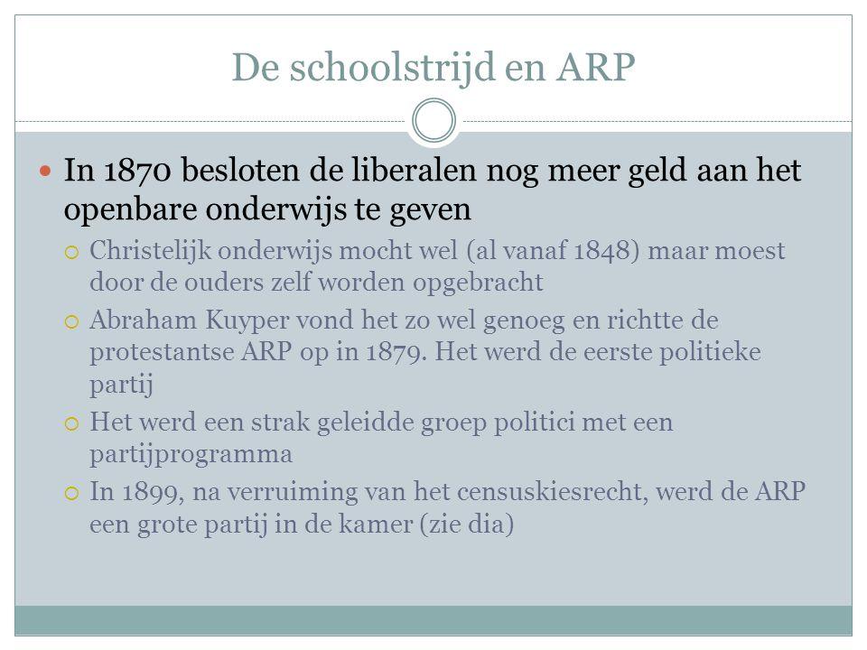 De schoolstrijd en ARP In 1870 besloten de liberalen nog meer geld aan het openbare onderwijs te geven  Christelijk onderwijs mocht wel (al vanaf 184