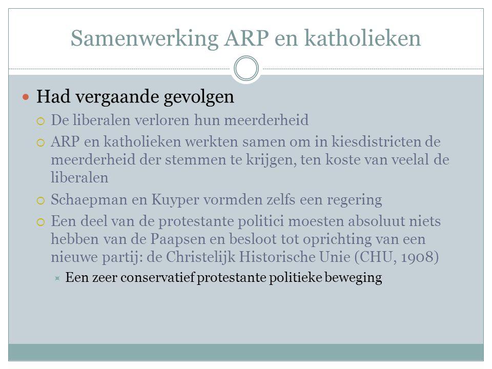 Samenwerking ARP en katholieken Had vergaande gevolgen  De liberalen verloren hun meerderheid  ARP en katholieken werkten samen om in kiesdistricten
