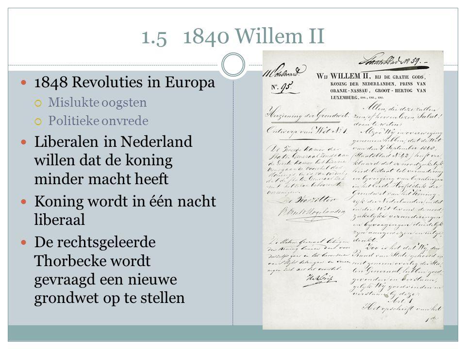 1.5 1840 Willem II 1848 Revoluties in Europa  Mislukte oogsten  Politieke onvrede Liberalen in Nederland willen dat de koning minder macht heeft Kon