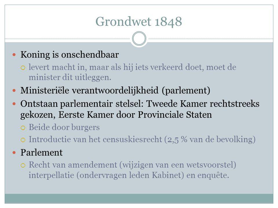 Grondwet 1848 Koning is onschendbaar  levert macht in, maar als hij iets verkeerd doet, moet de minister dit uitleggen. Ministeriële verantwoordelijk