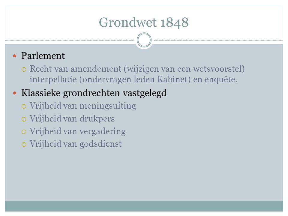 Grondwet 1848 Parlement  Recht van amendement (wijzigen van een wetsvoorstel) interpellatie (ondervragen leden Kabinet) en enquête. Klassieke grondre