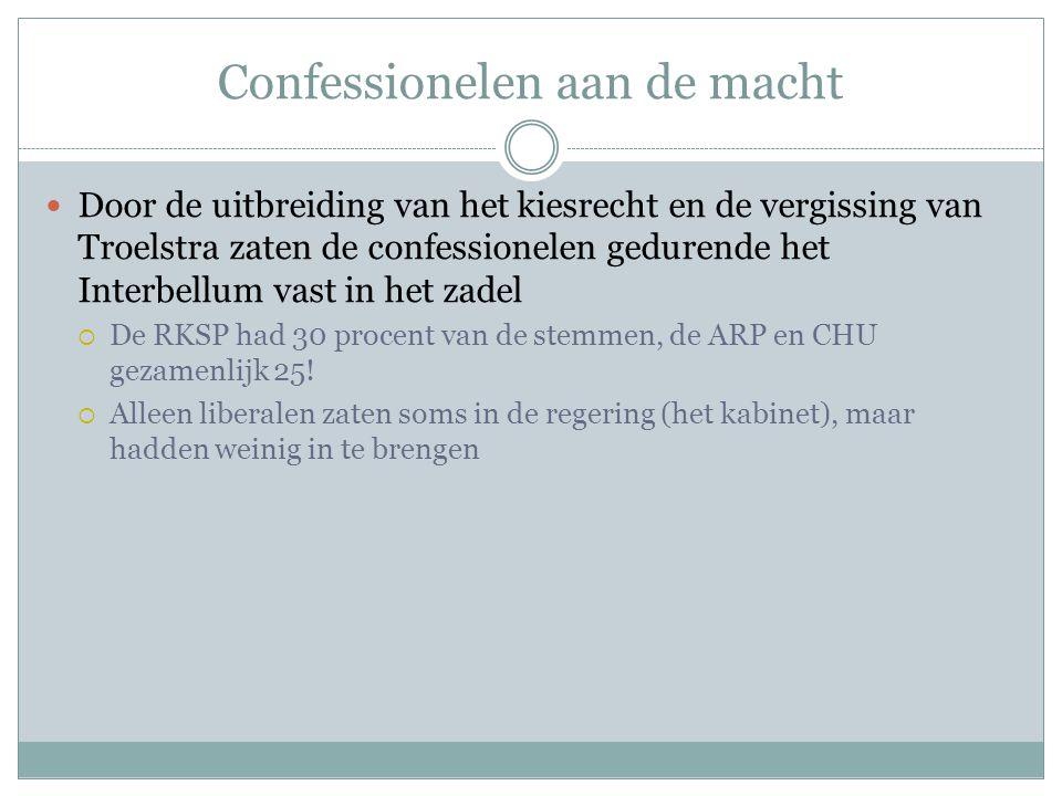 Confessionelen aan de macht Door de uitbreiding van het kiesrecht en de vergissing van Troelstra zaten de confessionelen gedurende het Interbellum vas