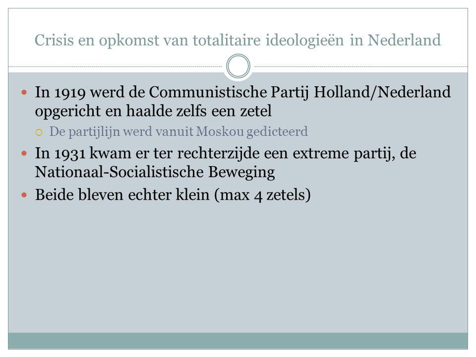 Crisis en opkomst van totalitaire ideologieën in Nederland In 1919 werd de Communistische Partij Holland/Nederland opgericht en haalde zelfs een zetel