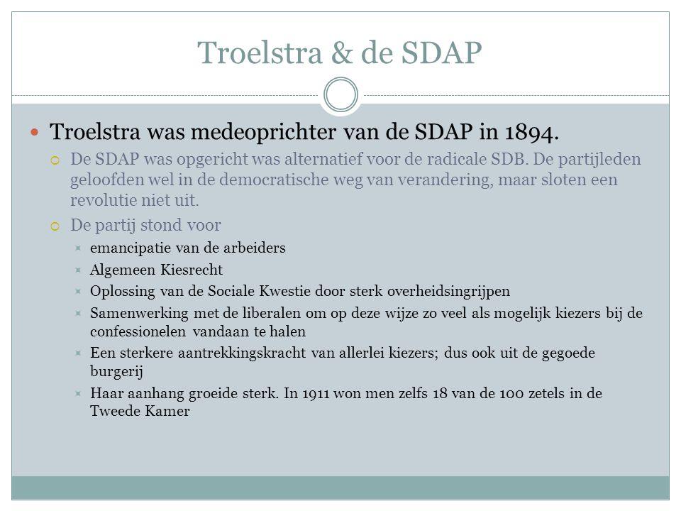 Troelstra & de SDAP Troelstra was medeoprichter van de SDAP in 1894.  De SDAP was opgericht was alternatief voor de radicale SDB. De partijleden gelo