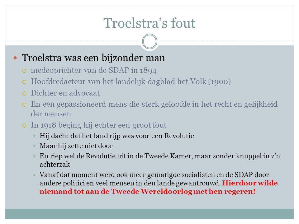 Troelstra's fout Troelstra was een bijzonder man  medeoprichter van de SDAP in 1894  Hoofdredacteur van het landelijk dagblad het Volk (1900)  Dich