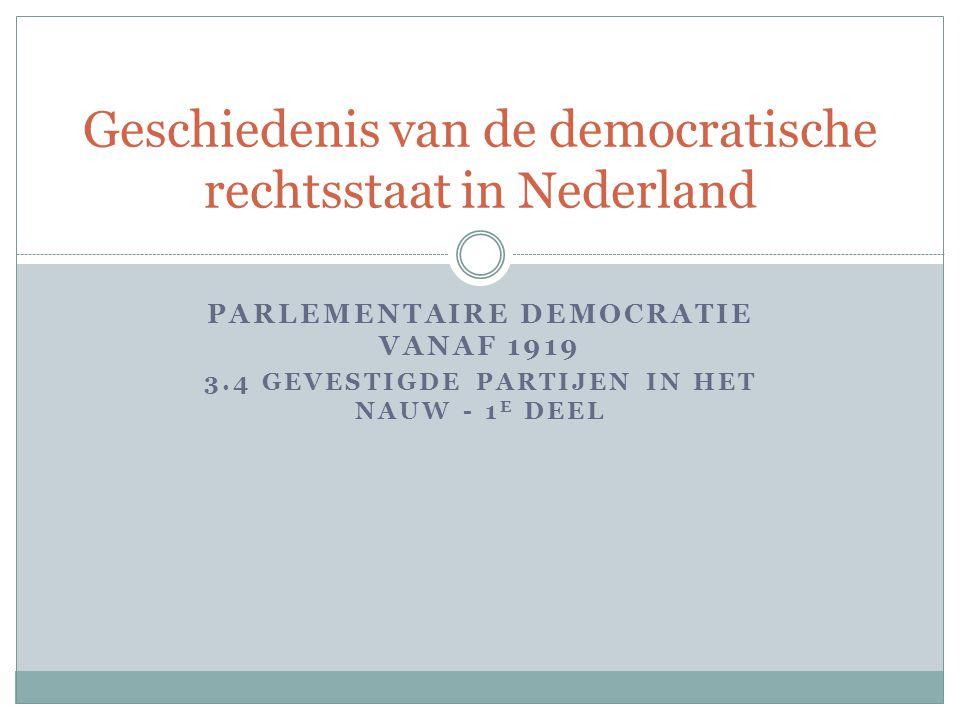 PARLEMENTAIRE DEMOCRATIE VANAF 1919 3.4 GEVESTIGDE PARTIJEN IN HET NAUW - 1 E DEEL Geschiedenis van de democratische rechtsstaat in Nederland