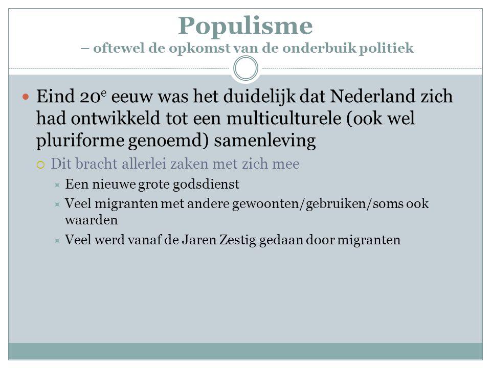 Populisme – oftewel de opkomst van de onderbuik politiek Eind 20 e eeuw was het duidelijk dat Nederland zich had ontwikkeld tot een multiculturele (oo